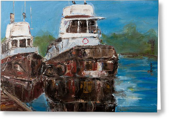 Twin Tugs Greeting Card by Sophie Brunet