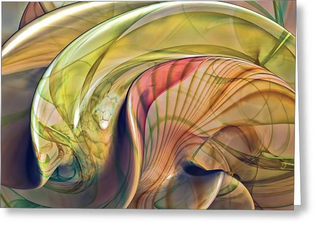 Twist Of Color Greeting Card by Deborah Benoit