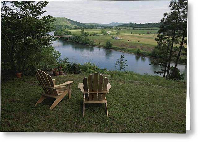 Two Adirondack Chairs On A Scenic Greeting Card