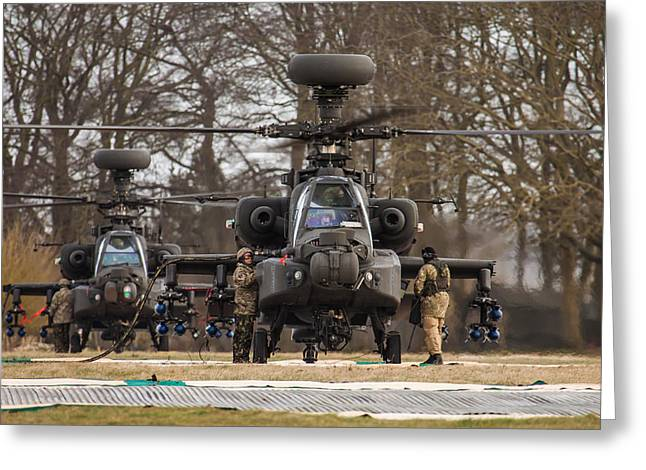 Two Ah64 Apaches Greeting Card by Ken Brannen