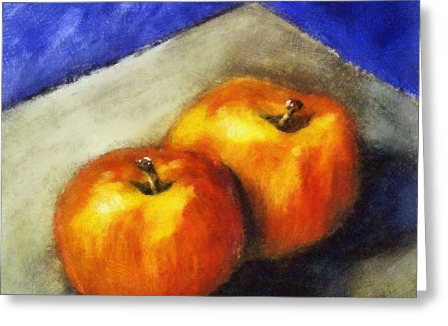 Two Apples With Blue Greeting Card
