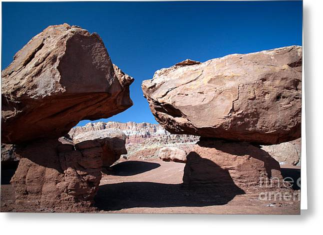Two Balancing Boulders In The Desert Greeting Card
