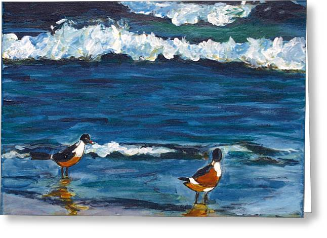 Two Birds With Waves Greeting Card