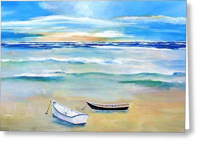 Two Boats Ashore  Greeting Card