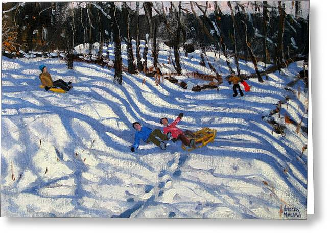 Two Boys Falling Off A Sledge Greeting Card by Andrew Macara