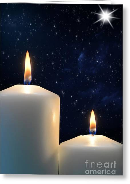 Two Candles With Star Of Bethlehem  Greeting Card by Michael Gray