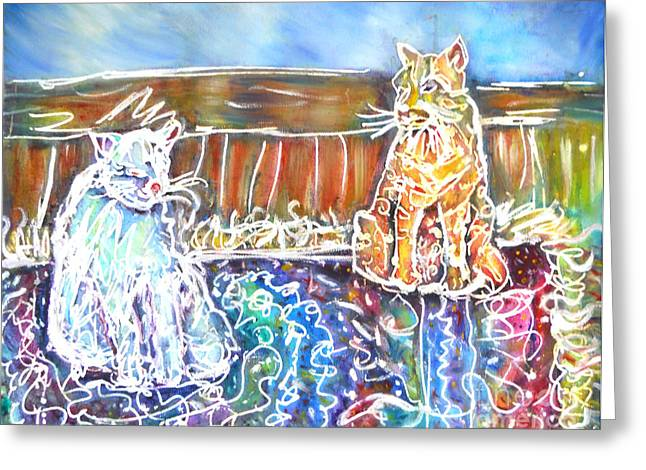 Two Cats On The Carpet Greeting Card by M C Sturman