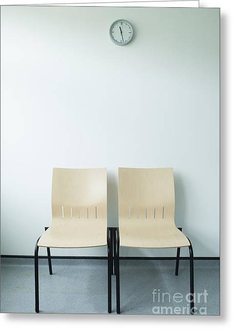 Two Chairs And A Clock Greeting Card by Iain Sarjeant