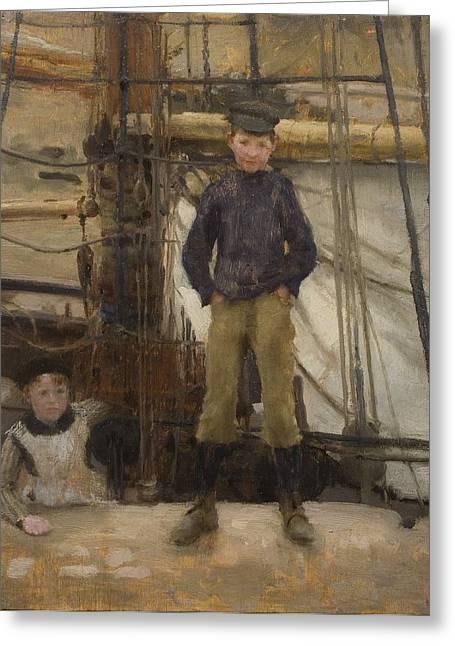 Two Children On Deck Greeting Card by Henry Scott Tuke
