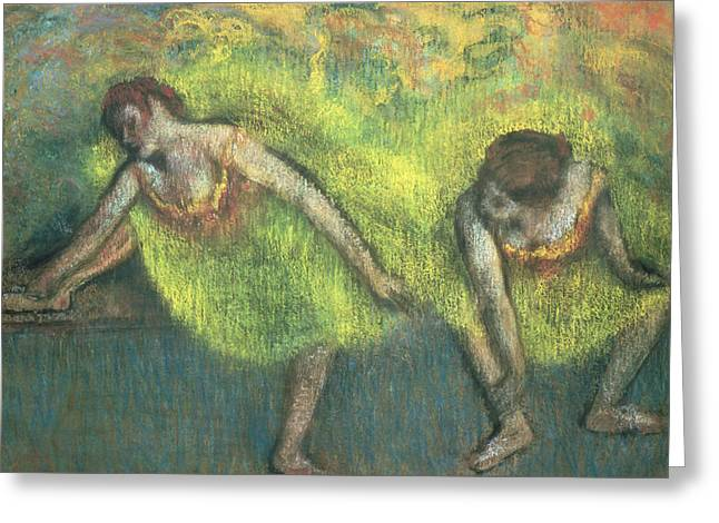 Two Dancers Relaxing Greeting Card by Edgar Degas