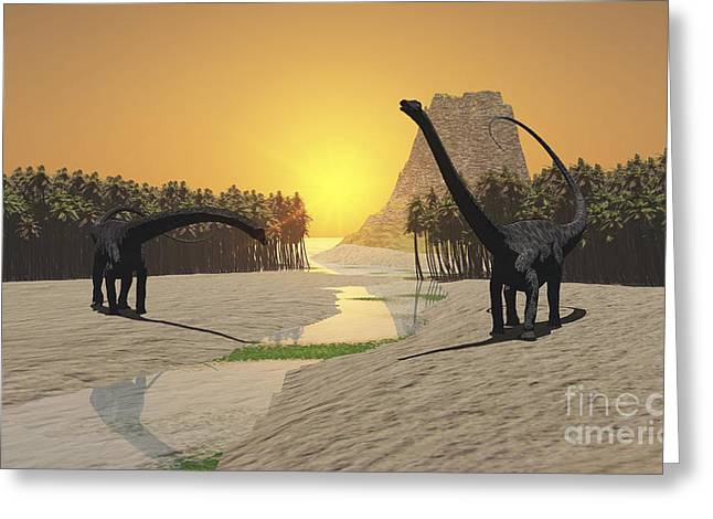 Two Diplodocus Dinosaurs Come Greeting Card by Corey Ford