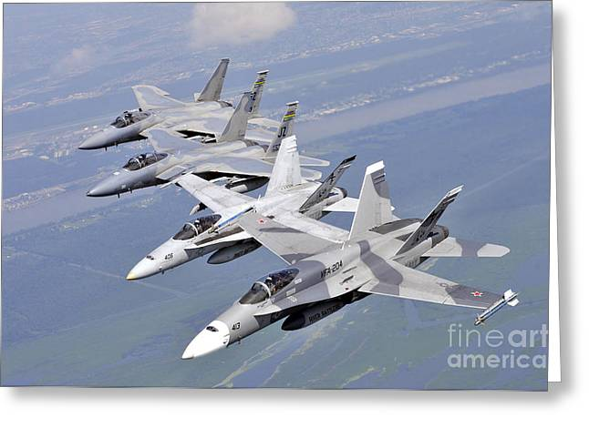 Two Fa-18 Hornets And Two F-15 Strike Greeting Card by Stocktrek Images