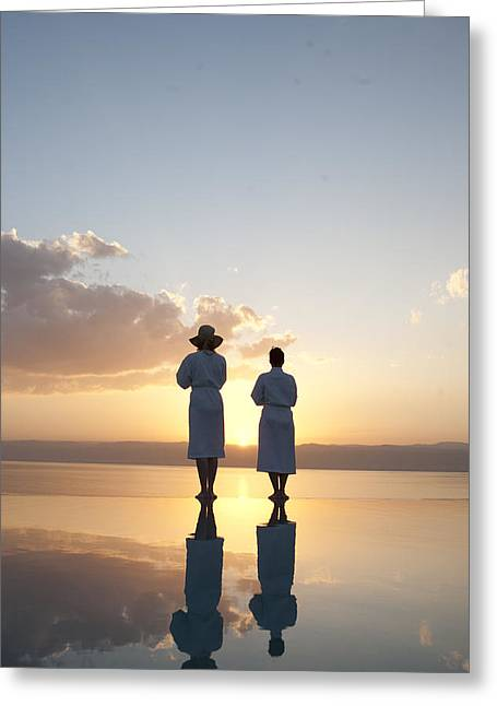 Two Friends Enjoy The Warm Sun Greeting Card by Taylor S. Kennedy
