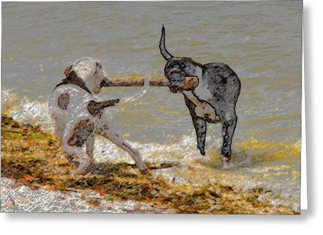 Two Good Friends Greeting Card by David Lee Thompson