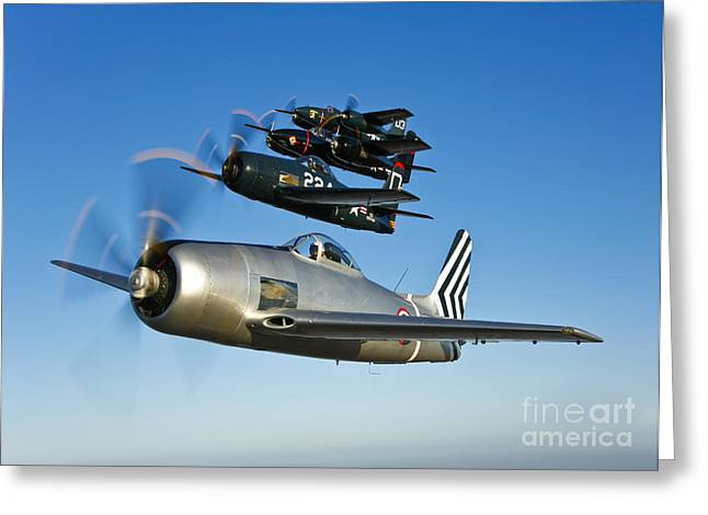 Two Grumman F8f Bearcats And Two F7f Greeting Card by Scott Germain