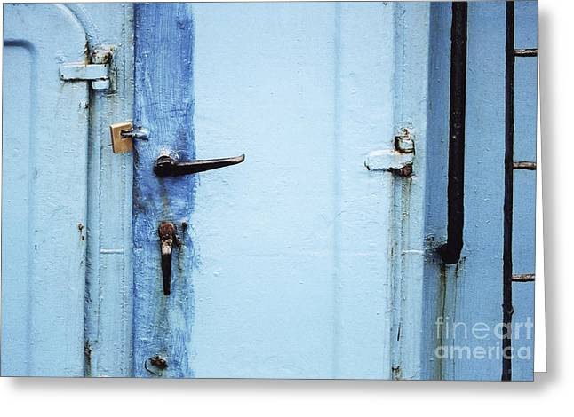Two Handles And A Padlock Greeting Card by Agnieszka Kubica