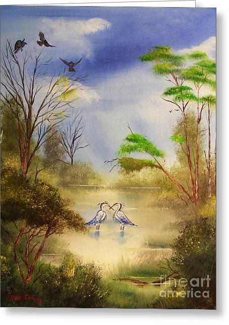 Two Herons Greeting Card by Crispin  Delgado