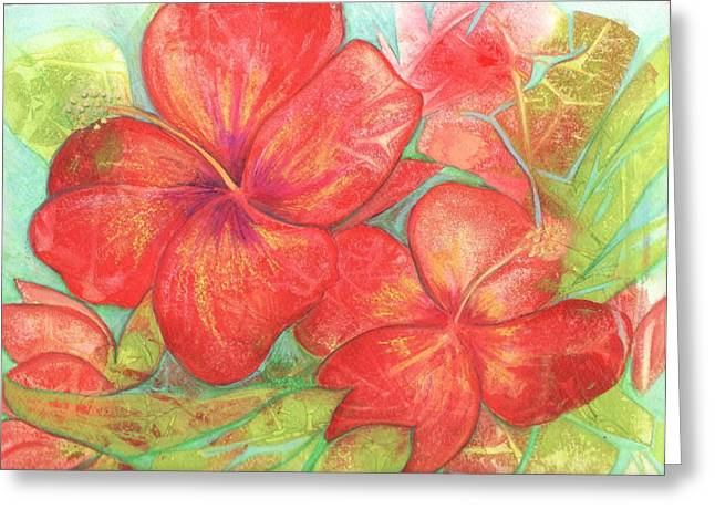 Greeting Card featuring the painting Two Hibiscus Blossoms by Carla Parris