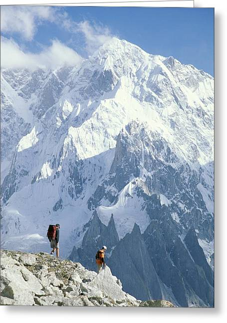 Two Hikers In Charakusa Valley Greeting Card by Jimmy Chin