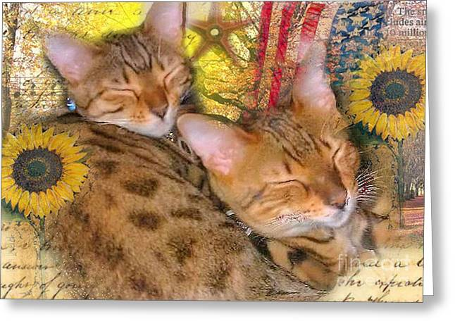 Two Kitties Sitting In A Tree Greeting Card
