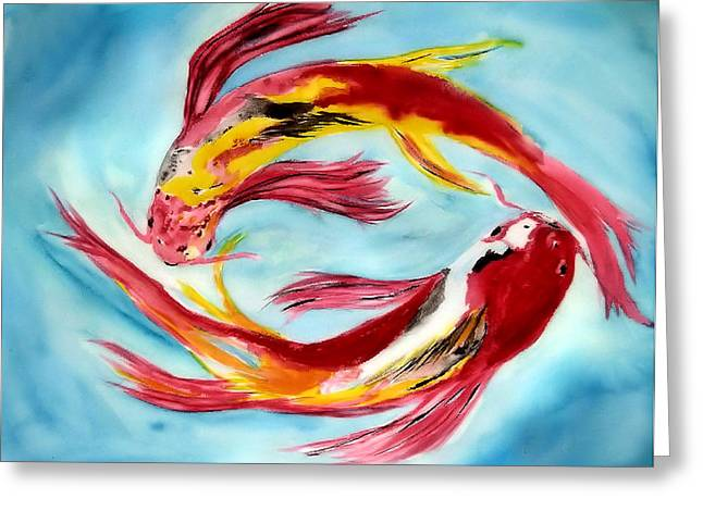 Two Koi For Words Greeting Card by Alethea McKee