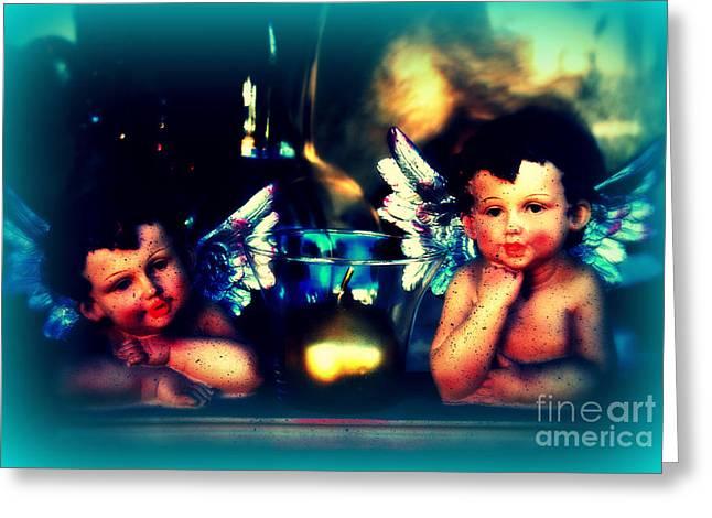 Two Little Angels Greeting Card by Susanne Van Hulst