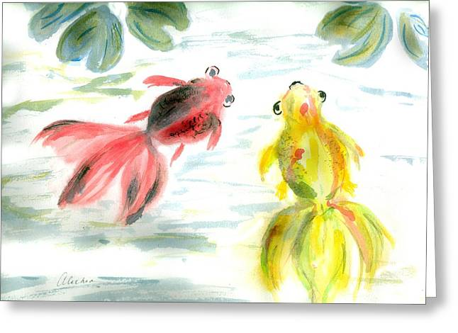 Two Little Fishes Greeting Card