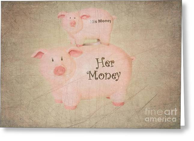 Two Little Piggies Greeting Card by Betty LaRue