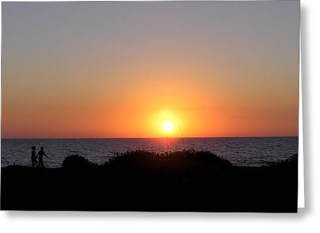 Two Lovers Sunset Beach Walk Greeting Card