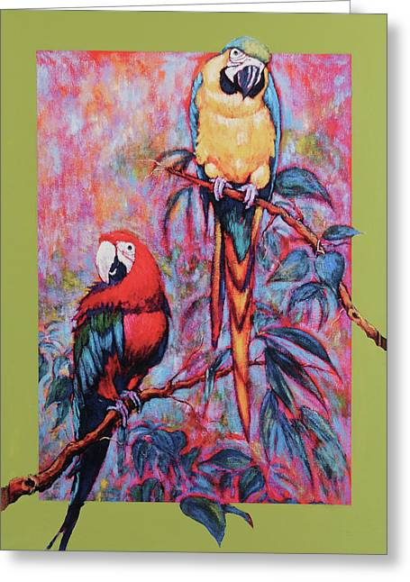 Greeting Card featuring the painting Captive Birds Of The Rain Forest by Charles Munn