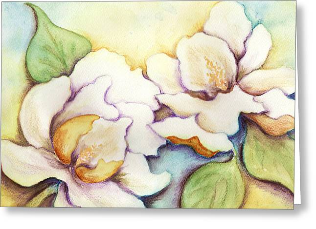 Greeting Card featuring the painting Two Magnolia Blossoms by Carla Parris