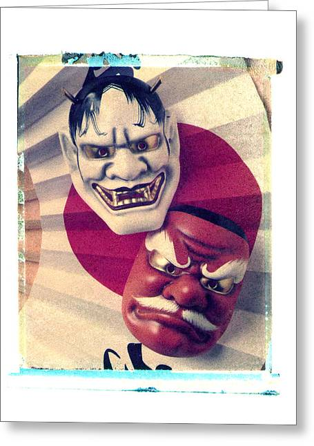 Two Masks Greeting Card by Garry Gay