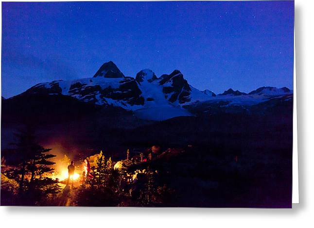 Two Men Camp Under The Stars Greeting Card