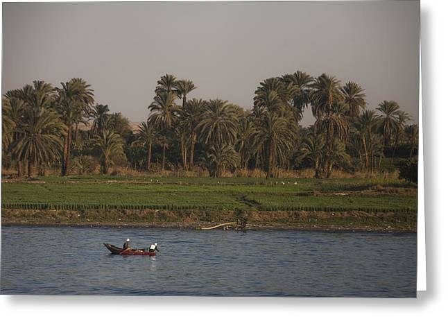 Two Men Fish In The Nile River Greeting Card by Taylor S. Kennedy