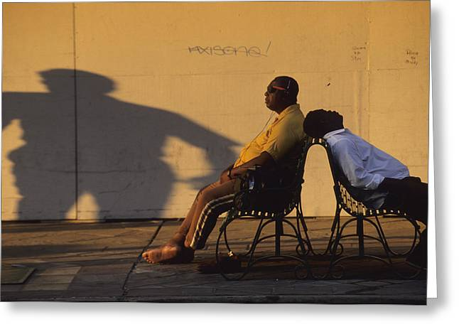Two Men Relax On City Benches Greeting Card