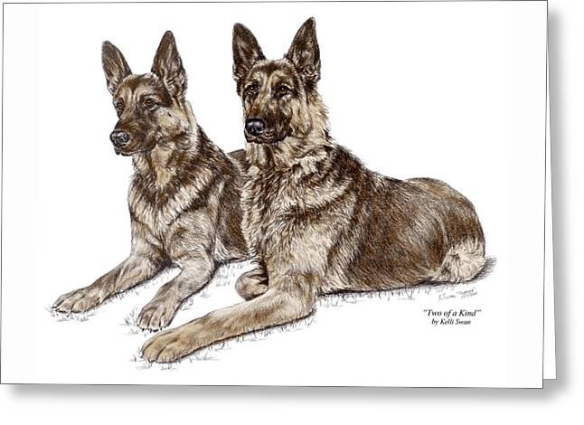 Two Of A Kind - German Shepherd Dogs Print Color Tinted Greeting Card