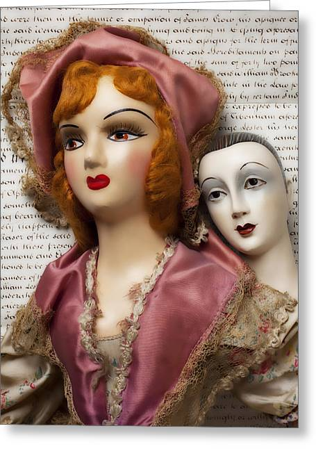 Two Old Dolls Greeting Card by Garry Gay