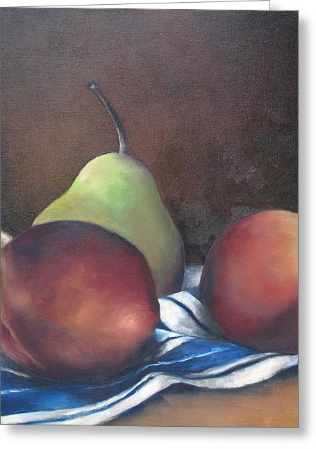 Two Peaches And A Pear Greeting Card by Julie Dalton Gourgues