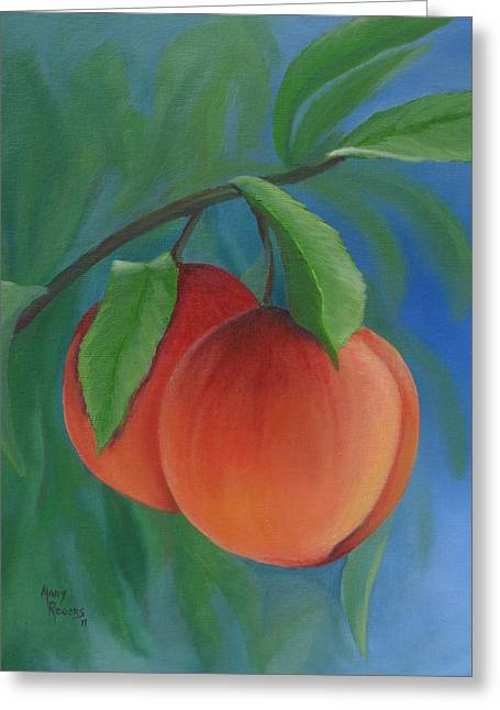 Two Peaches Greeting Card by Mary Rogers