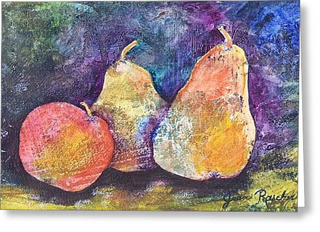 Two Pears And An Apple Greeting Card