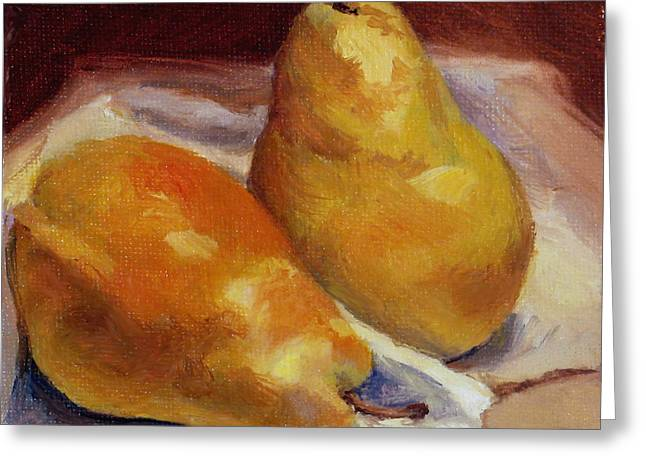 Greeting Card featuring the painting Two Pears by Vikki Bouffard