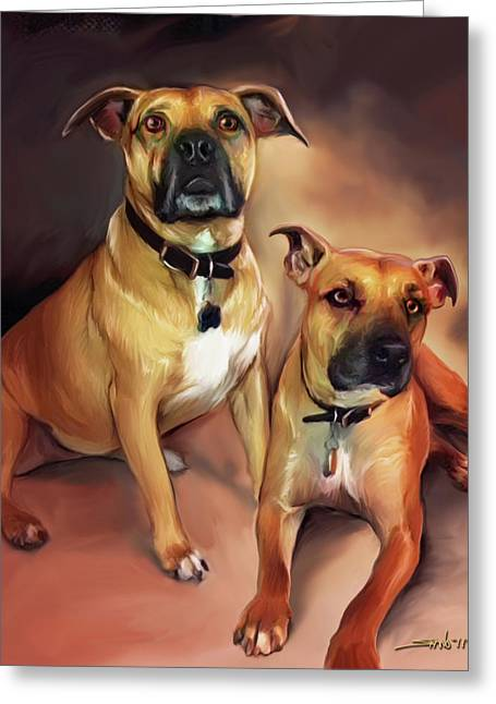 Two Pit Bull Terriers Greeting Card