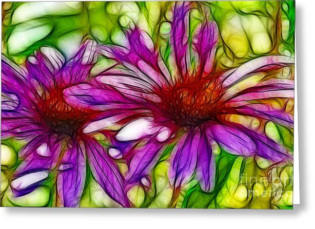 Two Purple Daisy's Fractal Greeting Card by Donna Greene