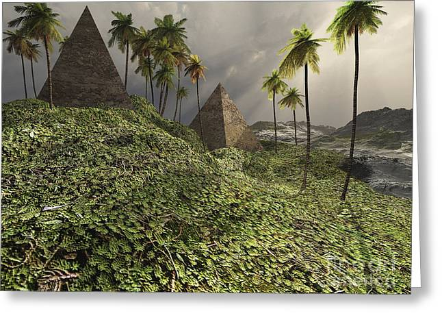 Two Pyramids Sit Majestically Among Greeting Card by Corey Ford
