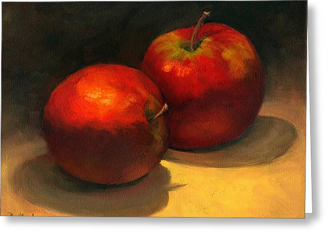 Greeting Card featuring the painting Two Red Apples by Vikki Bouffard