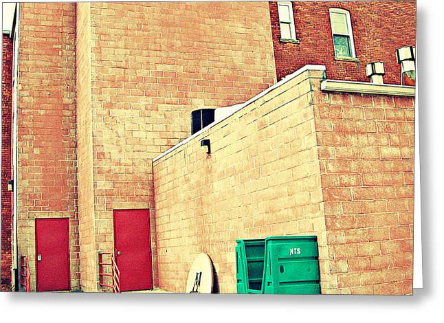 Greeting Card featuring the photograph Two Red Doors - Two Little Windows by MJ Olsen