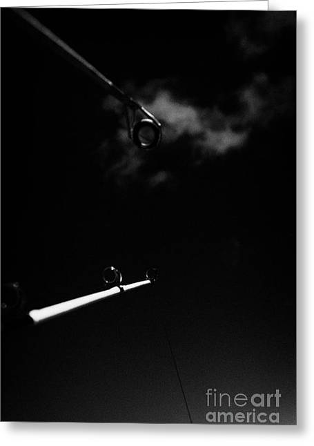 Two Rods And Lines Against Blue Sky Greeting Card by Joe Fox