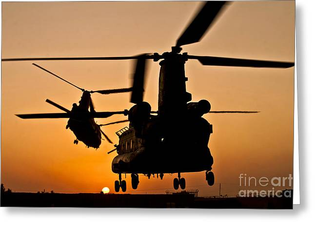 Two Royal Air Force Ch-47 Chinooks Take Greeting Card by Stocktrek Images