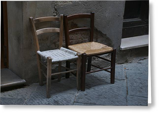 Two Small Chairs Await Locals Or Greeting Card by Heather Perry