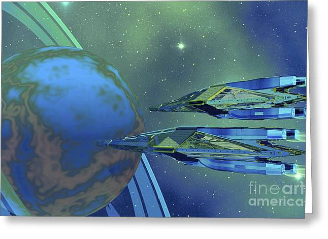 Two Spacecraft Fly To Their Home Planet Greeting Card by Corey Ford